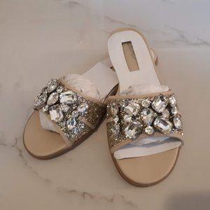 NWT Aldo Brodkin embellished nude sandals Size 6